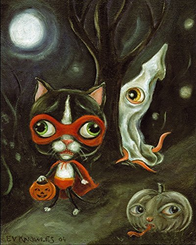[Halloween Tuxedo Cat & Squid Trick or Treat Modern Art Print - Dressed Animals - Mat & size options] (Animals Dressed Up In Halloween Costumes)