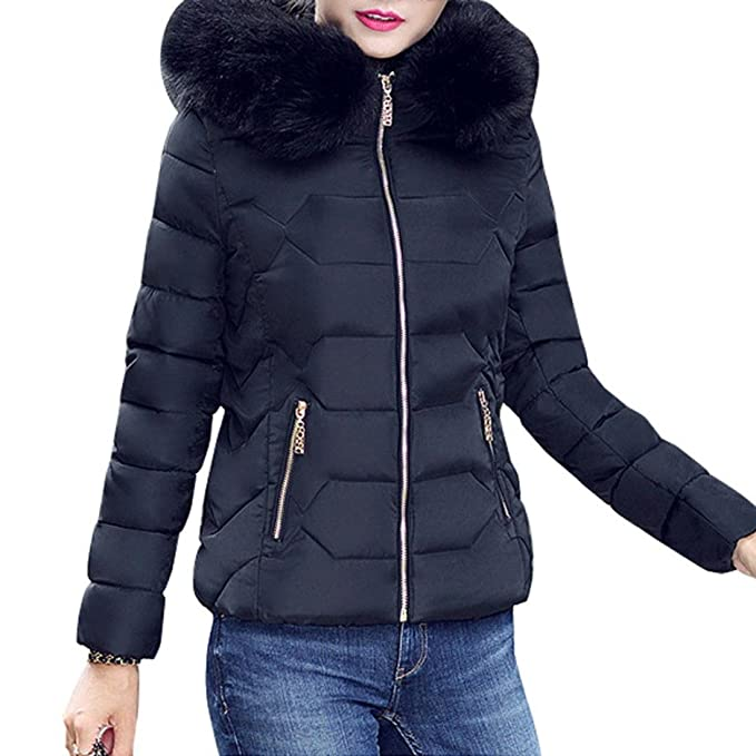 yet not vulgar pretty cool new product Napoo 2018 New Women Winter Thick Jacket Faux Fur Collar Zipper Coat Warm  Parka Hooded Outwear