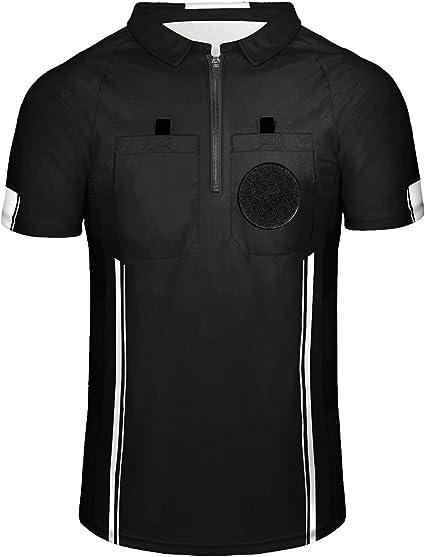 Yuar butee Men's Official Soccer Referee Shirt Zipper Umpire Referee Jerseys Pro Ref Uniform for Basketball & Football