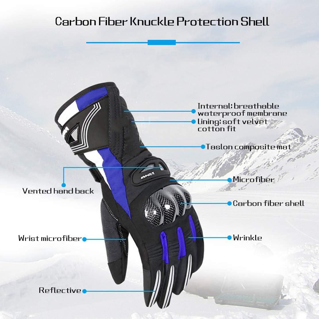 Guanti Moto Invernali Guanti Caldi Impermeabili a Dito Pieno con Touch Screen per Sport allaperto Professionali