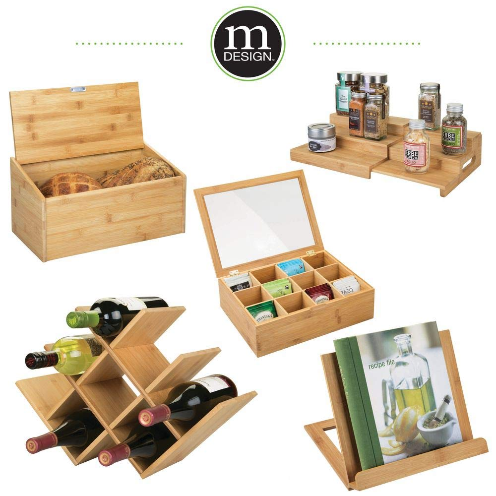 Modern Geometric Design Holds 8 Bottles mDesign Bamboo Free-Standing Water Bottle and Wine Rack Storage Organizer for Kitchen Counter Tops Eco-Friendly Fridge Natural Light Wood Pantry