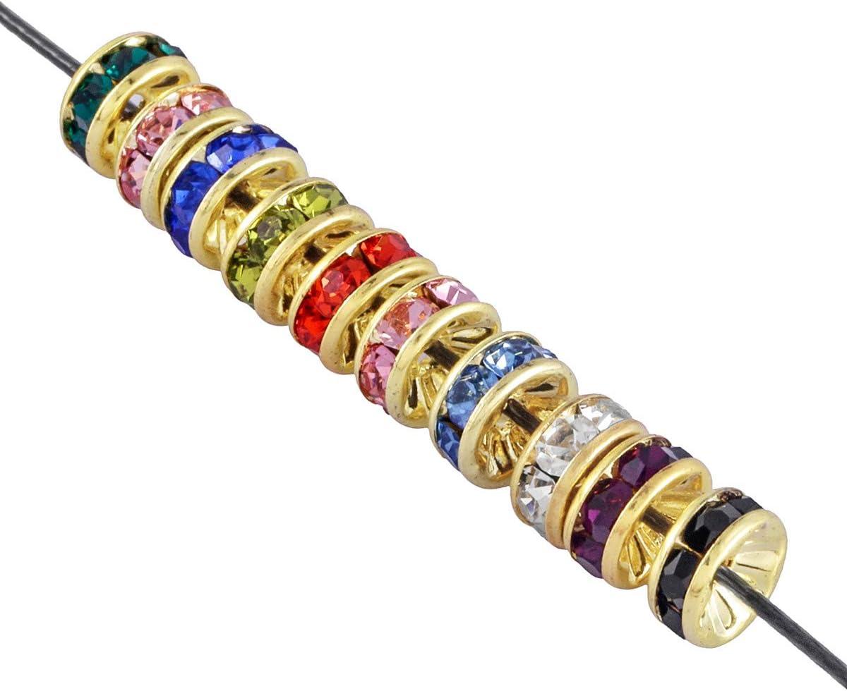 mookaitedecor 100 piezas 8 mm recto borde chapado en oro brillantes Rondelle Spacer perlas para pulseras collar de cristal checo perlas para joyas hacer, metal, Colores surtidos., 8x8x4 mm