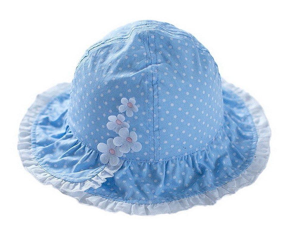 AOYOMO Baby Girls Kids Chic Cute Blue Dot Flower Brim Bucket Cap Sun Hat