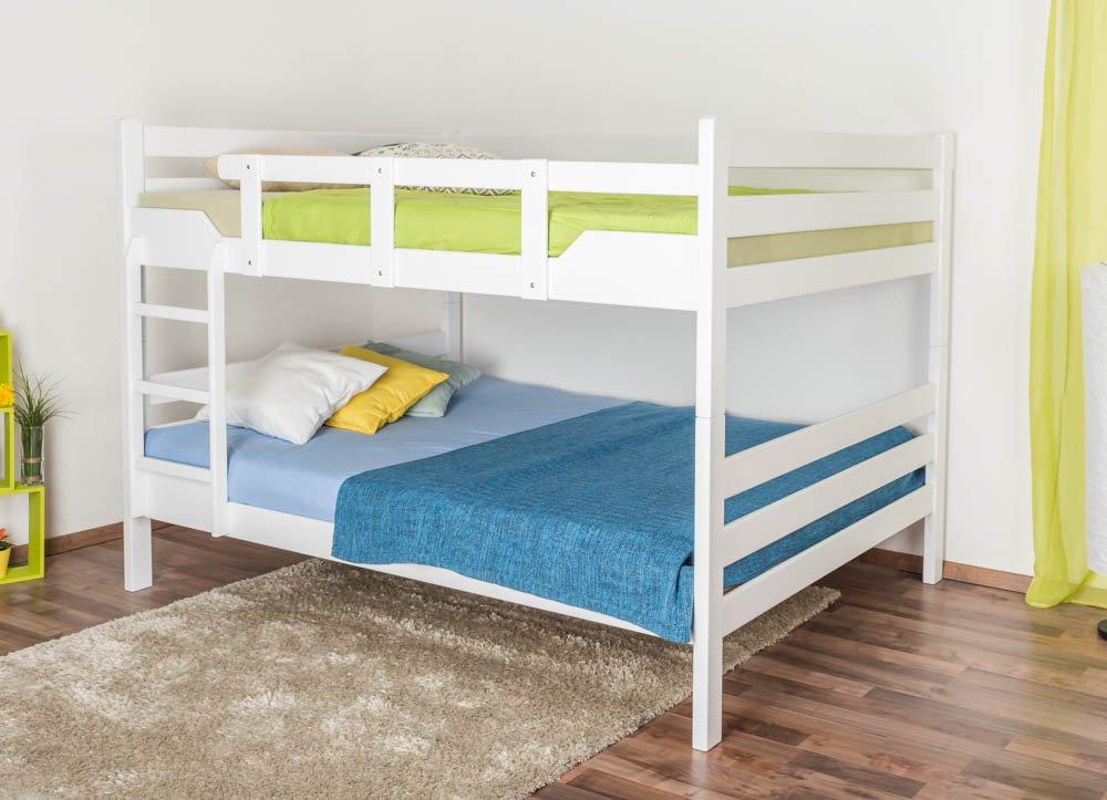 Etagenbett für Erwachsene Easy Premium Line  K16 n, Kopf- und Fußteil gerade, Buche Vollholz massiv Weißszlig; lackiert - Liegefläche  160 x 200 cm, teilbar