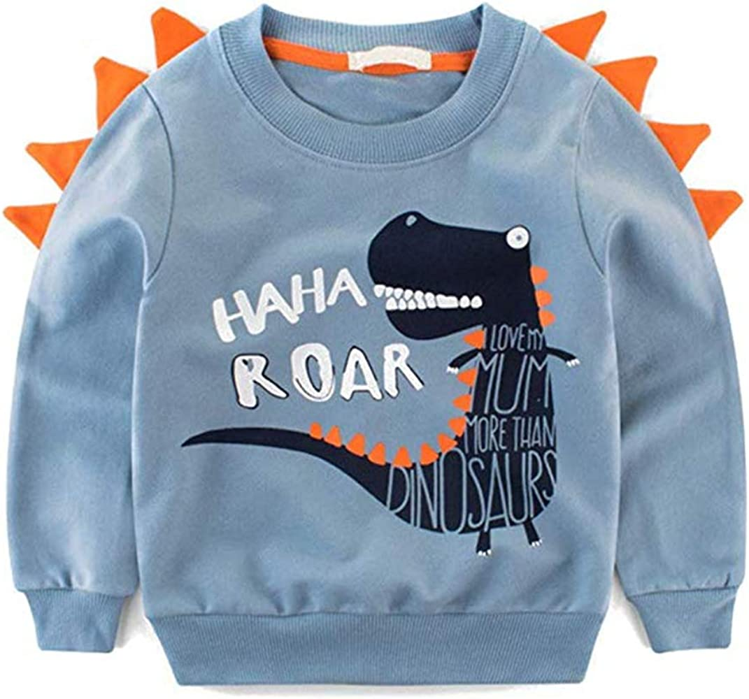 Boys Zip Hoodies for Girls Jumper Dinosaur Cotton Top Unisex Sweatshirt Long Sleeve T Shirt Casual Toddler Clothes Winter for Kids 1-7 Years