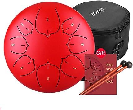 C&JQ Lotus - Tambor de Acero Inoxidable con Baquetas de Tambor, Pegatina para Dedos, Bolsa Tutorial, Bolsa de Transporte, Nota para meditación, Yoga: Amazon.es: Juguetes y juegos