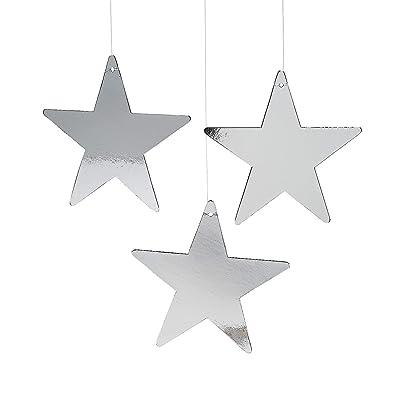 "Fun Express - 9"" Silver Cardboard Star Decor (12pc) for Party - Party Decor - Wall Decor - Cutouts - Party - 12 Pieces: Toys & Games"
