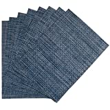 Benson Mills Longport Woven Vinyl Placemat, Metallic Blue, Set of 8
