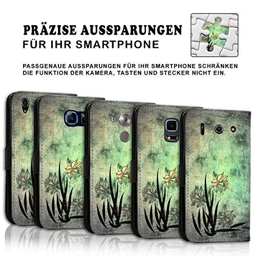 Wallet Book Style Flip Handy Tasche Case Schutz Hülle Schale Motiv Etui für Apple iPhone 4 / 4S - Design Flip MV212