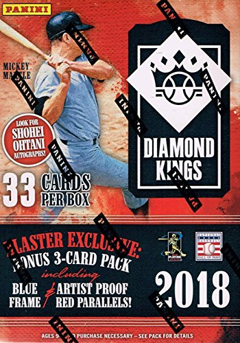 2018 Diamond Kings Baseball Factory Sealed Blaster Box of Packs including EXCLUSIVE Mickey Mantle Collection Cards and Artist Proof Red or Blue (Unopened Box Baseball)