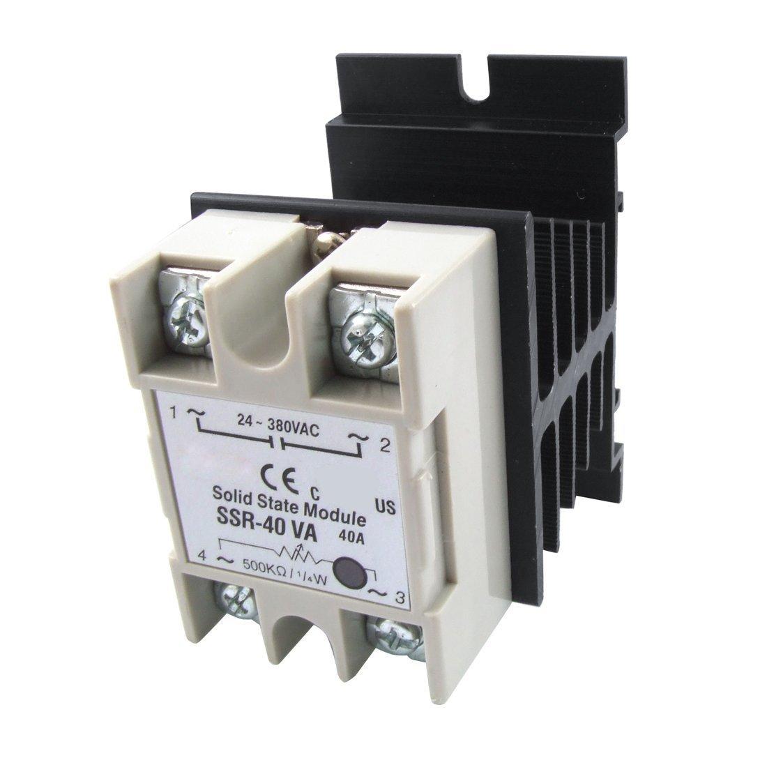 R Rele TOOGOO Rele de estado solido SSR Regulador de resistencia de voltaje 40A 24-380V AC con Disipador de calor