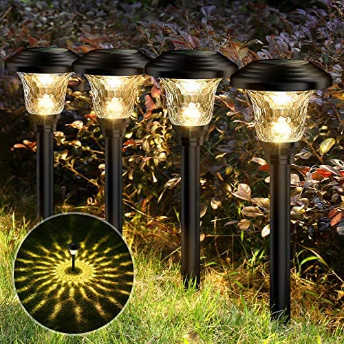 Balhvit Glass Solar Lights Outdoor, 8 Pack Super Bright Solar Pathway Lights, Up to twelve Hrs Long Last Auto On/Off Garden Lights Solar Powered Waterproof, Stainless Steel LED Landscape Lighting for Yard
