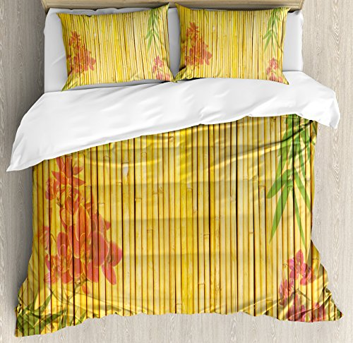 Bamboo Duvet Cover Set by Ambesonne, Lotus Flower and Bamboo Background on Stems Tropical Plant Oriental Art Print, 3 Piece Bedding Set with Pillow Shams, Queen / Full, Red Green Gold