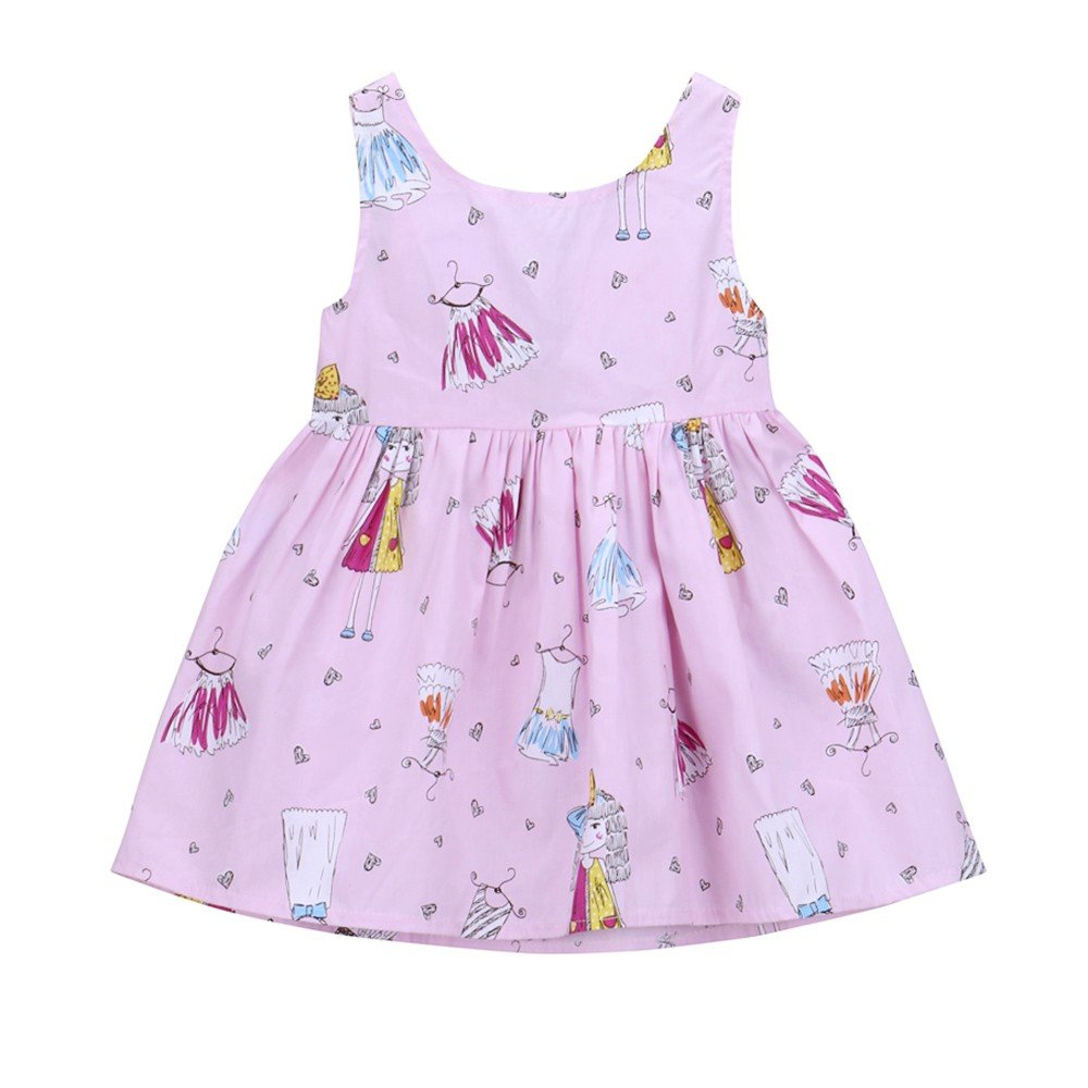 Bokeley Baby Girls Summer Dress Lovely Baby Toddle Girls Floral Sleeveless Princess Beach Dress (18M, Pink)