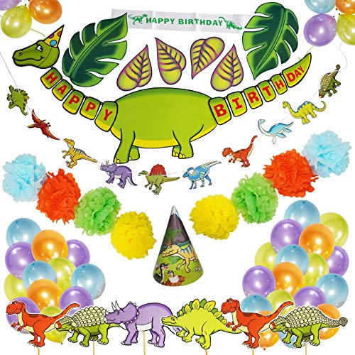 First Dino Kit - 88 Piece Dinosaur Party Supplies | Little Dino Party Decorations Set for Kids Birthday Party | Bridal Shower | Baby Shower By Rusento