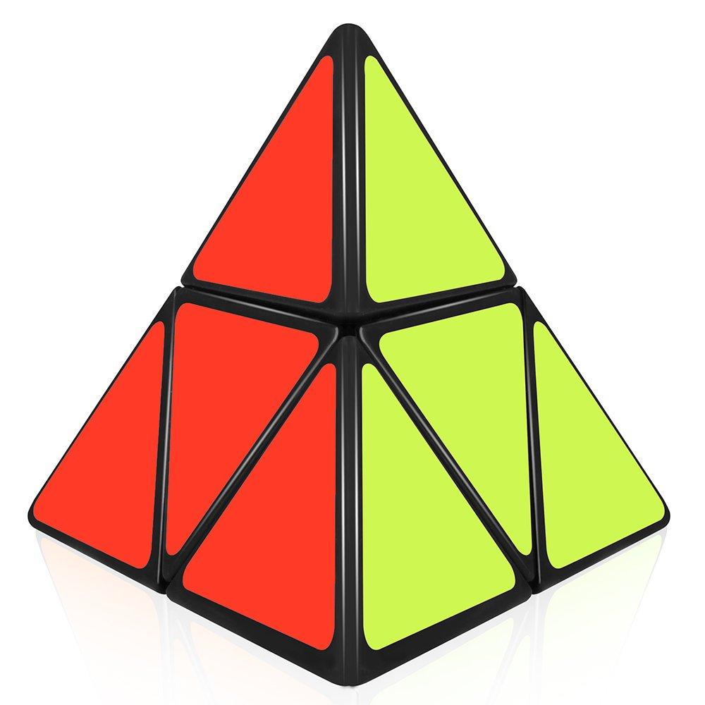 D-FantiX ShengShou Pyramorphix 2x2 Speed Cube Pyramid 2by2 Puzzle Toy Black