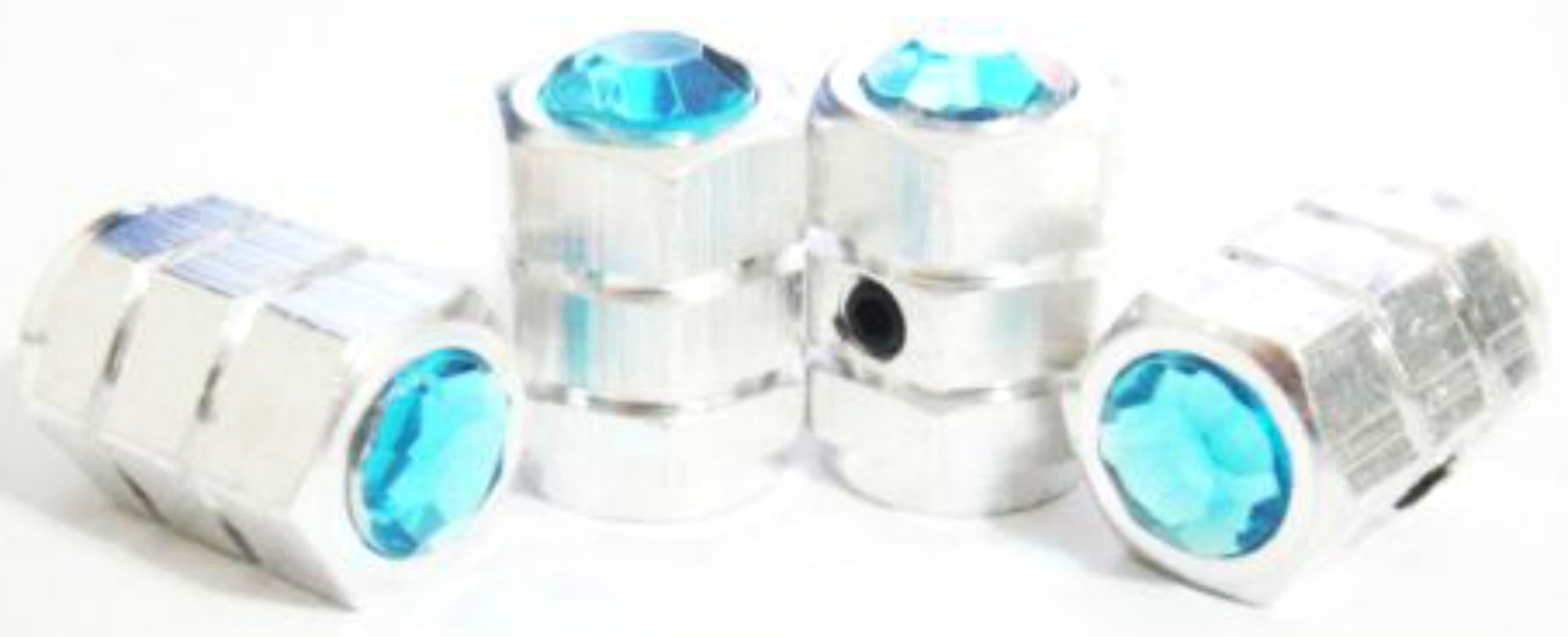 "(4 Count) Cool and Custom ""Hexagon Rhinestone Top with Easy Grip Shape"" Tire Wheel Rim Air Valve Stem Dust Cap Seal Made of Genuine Anodized Chrome Metal {Silver & Blue Colors} ''Anti Theft Locking''"