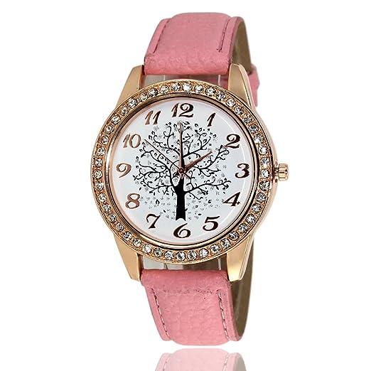 samgoo Mujer Relojes Retro brillantes Reloj de pulsera deseos algodón Patrón Elegante Analógico de Cuarzo muñeca reloj como regalo grande - Color Rosa: ...