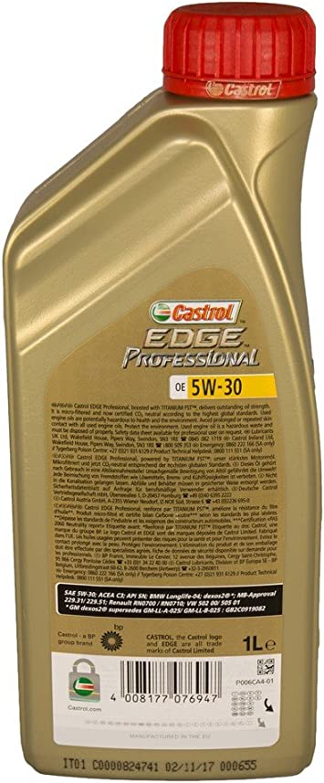 1 L Litre Castrol Edge Professional Titanium Fst Oe 5w 30 Engine Oil Specifications Approvals Api Sn Acea C3 Mb Approval 229 31 229 51 Vw 502 00 505 00 505 01 Bmw Longlife 04 Dexos2 Renault Rn 0700 0710 Auto