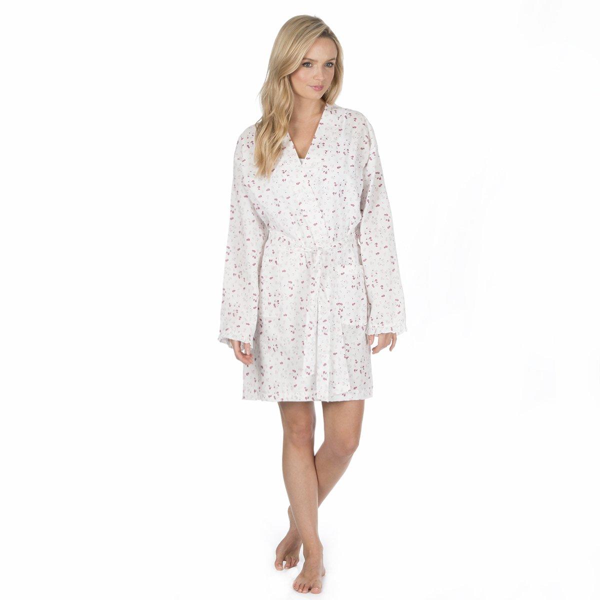 Best Deals Direct UK Ladies Dressing Gown Summer Cotton Lightweight Robe