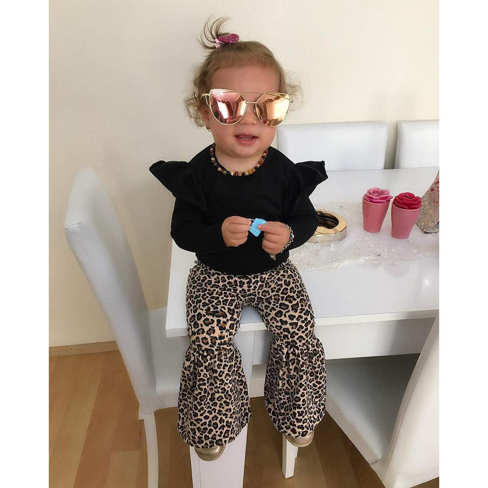 LIKESIDE Kid Baby Girl Tops T-Shirt Leopard Flared Pants 2pcs Outfit Clothes Set