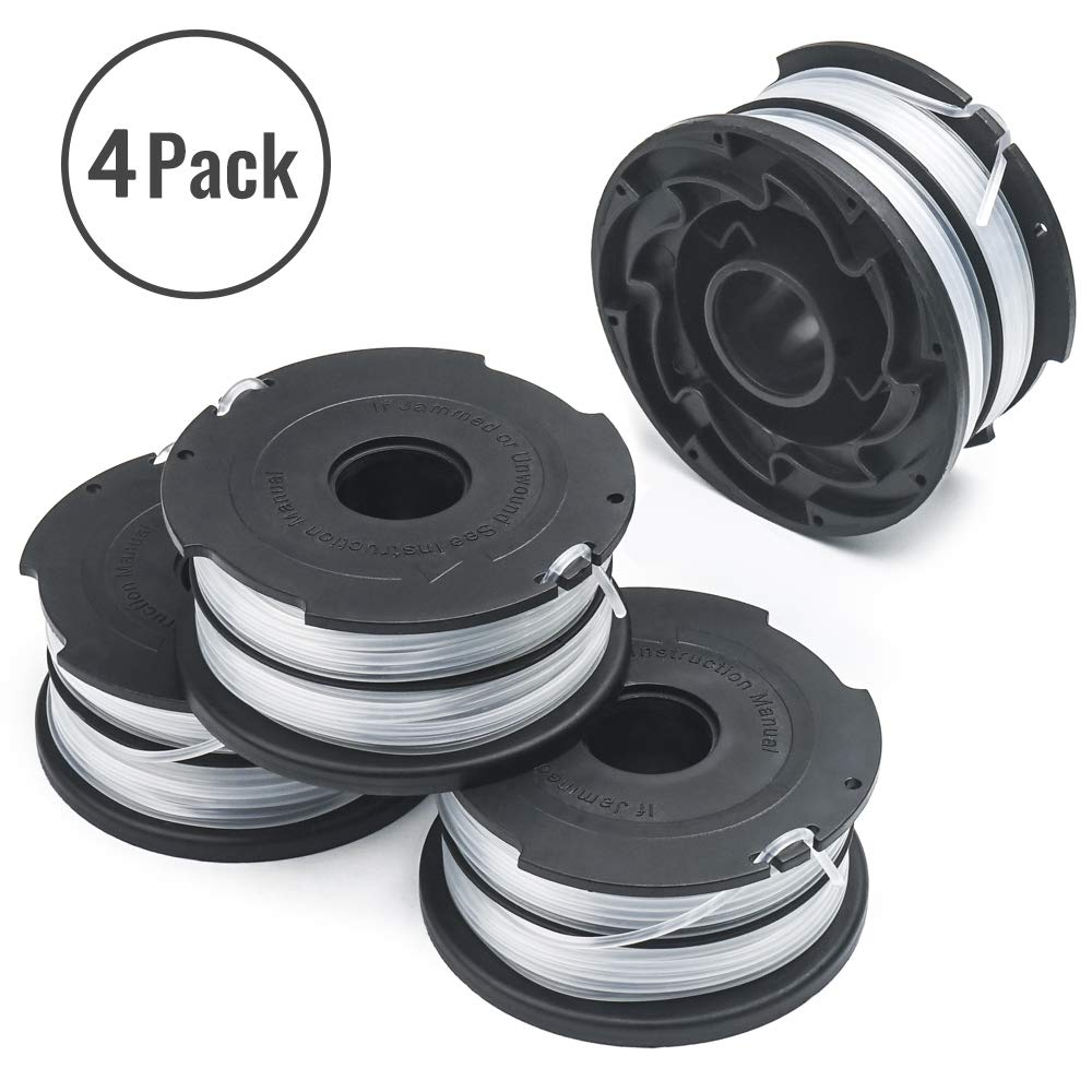 "X Home 90517175 Replacement Spools Compatible with Black Decker GH710 GH700 GH750 DF-065 Weed Eater Refills Line 36ft 0.065"" Auto-Feed String Trimmer Spool Dual Line Edger Parts (4 pcs)"
