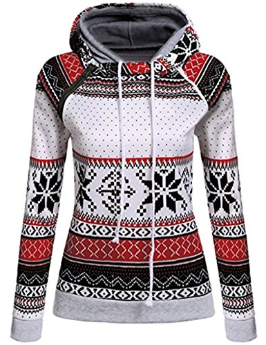 dongba Women Christmas Hooded Sweatshirts Pullovers Snowflake Printed Jumper Top (Snowflake Sweatshirt Hoodie)