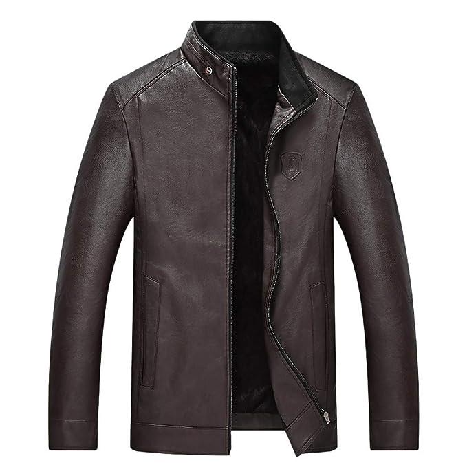Internet-Cuero sólido Grueso de Terciopelo para Hombre, Chaqueta de Moto Delgada, Abrigo Corto con Cuello Alto (Negro/marrón/Vino L-4XL)