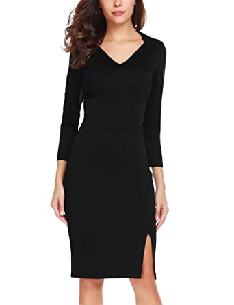 ec9847a7526 ANGVNS Women's Elegant Vintage V-Neck Bodycon Business Dress Black S