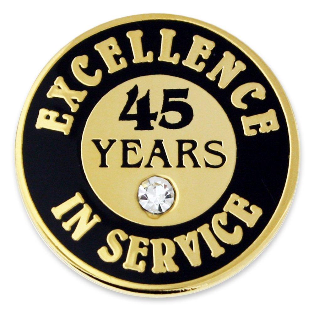 PinMart Gold Excellence in Service Enamel Lapel Pin w/Rhinestone - 45 Years