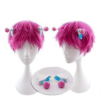 Saiki Wig Cosplay Pink Short Hair Life K.2 Costume Halloween Accessories