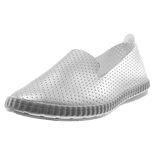 Angkorly - Zapatillas Moda Mocasines Slip-on Flexible Mujer Perforado tacón Plano 2 CM: Amazon.es: Zapatos y complementos