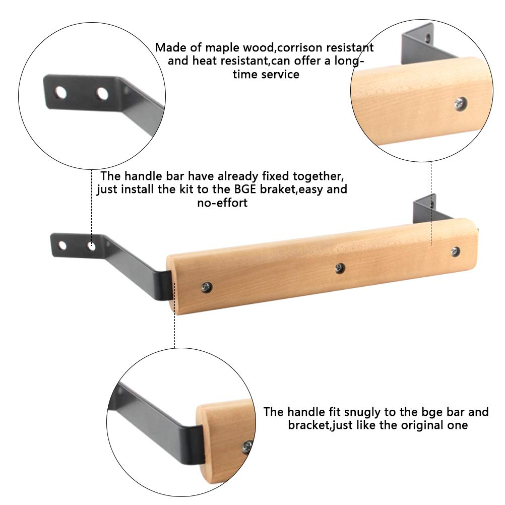 WRKAMA Grill Handle Replacement Large,9Inch Maple Wooden Handle for Large Big Green Egg,High Heat Resistant