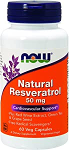 NOW Supplements, Natural Resveratrol plus Red Wine Extract, Green Tea & Grape Seed, 60 Veg Capsules