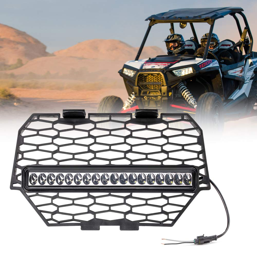 Front Mesh Grill with LED Light Bar for 2014-2017 Polaris RZR 1000