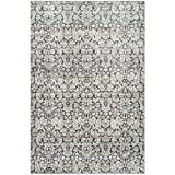 Safavieh Vintage Collection VTG437N Transitional Floral Damask Navy and Cream Distressed Area Rug (5'1″ x 7'7″)