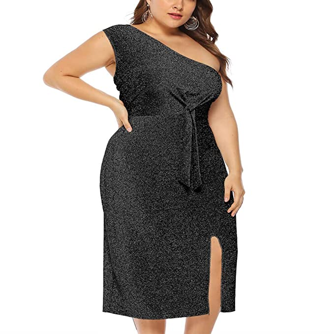 Holagift Women Sequin Maxi Dress Plus Size Sparkly Ruched Split Slit Party  Evening Bandage Stretchy Bodycon Dresses