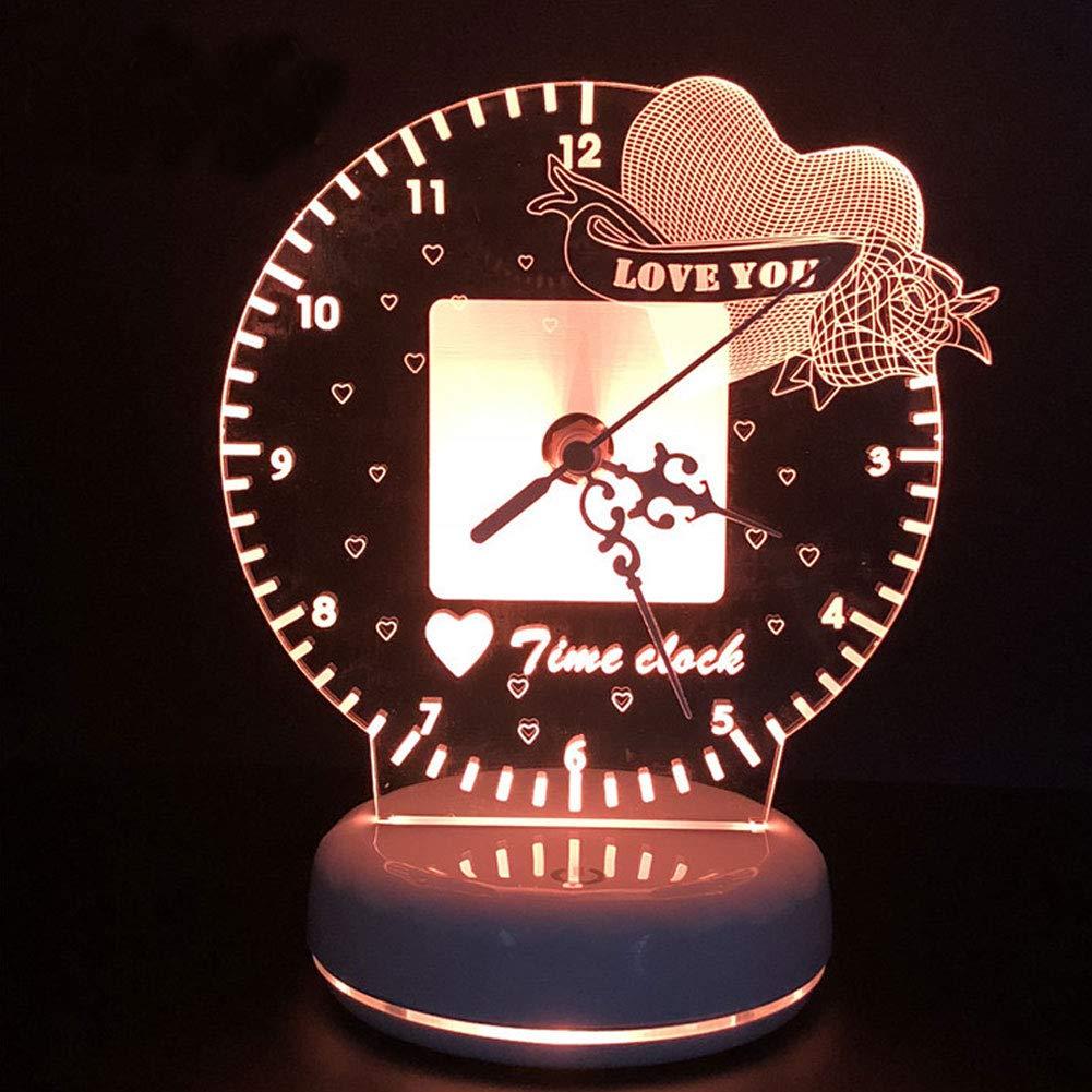 FEOOWV USB 3D Stereo Night Light Creative Desk Lamp Love Time Clock