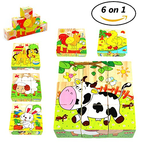Wooden Cube Block Puzzle Farm Animals 6 in 1 Puzzles Preschool Educational Toys for Kids Toddler
