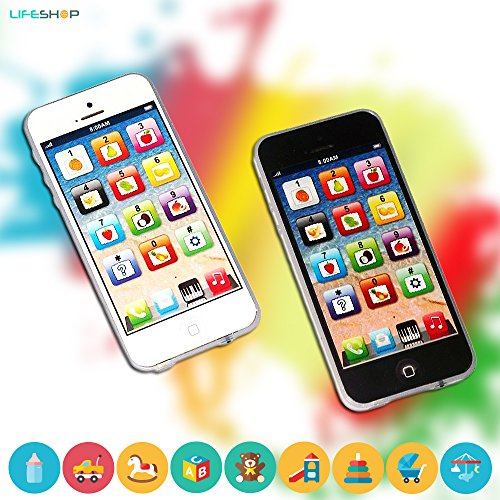 LifeShop Kids Children's Interactive My First Own IPhone Replica Play Phone Touch Sensitive Screen with 8 Functions and Dazzling LED Lights Charger Not Included