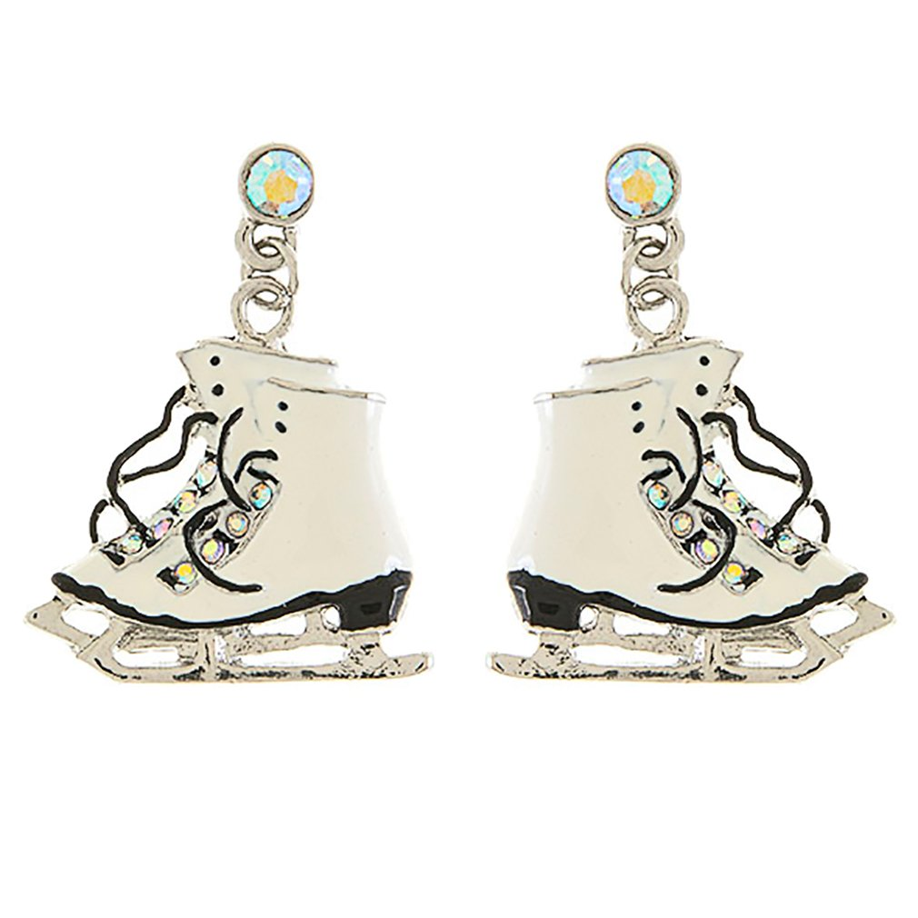 ACCESSORIESFOREVER Christmas Jewelry Crystal Rhinestone Ice Skating Shoes Earrings E1177 White