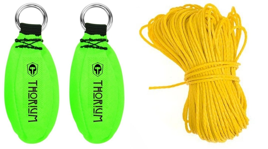 Thorium Slingshot Launcher Arborist Throw Weight Bag Pouch Combo Set Kit - Bright Green 12oz + 16oz complete with BONUS 150'/45m Throw Line Rope