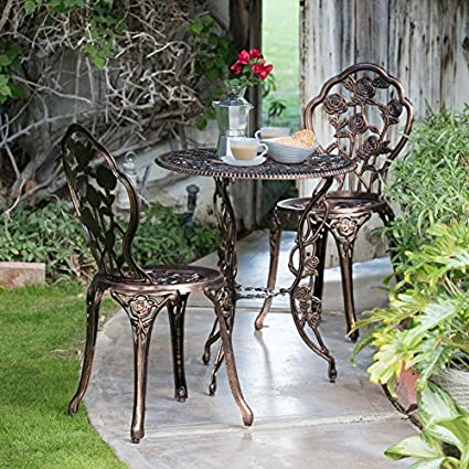 Image Unavailable - Amazon.com: Small Bistro Set Patio Furniture Sets French Cafe Table