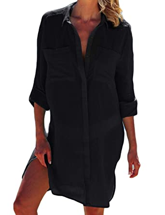 0e7825172b Ailunsnika Black Long Sleeve V Neck Beach Shirt Swimwear Turn Down Collar Cover  Up Tunic Dress