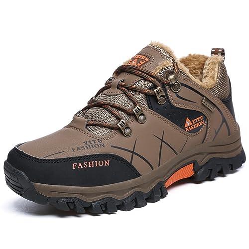 Gomnear Stivaletti Scarpe Trekking Uomo Basso Top Impermeabile Inverno Caldo  Rivestimento Completamente in Pelliccia Sneaker Khaki 696ff58c712
