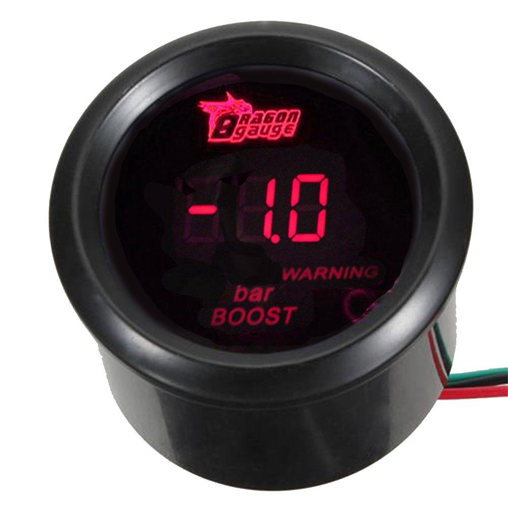 Mintice/™ 2 52mm Black Car Motor Digital Red LED Light Oil Press Pressure LED Gauge Meter