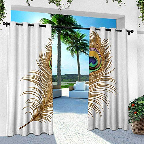Hengshu Peacock, Outdoor Blackout Curtains,Exotic Alluring Bird Feather Magical Wild Nature Decorative Image Print, W96 x L84 Inch, Mustard Green -