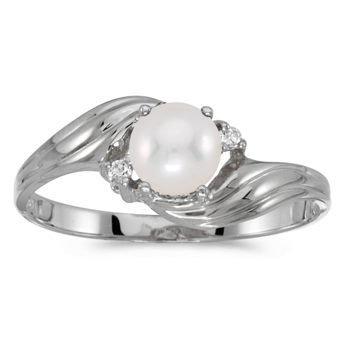 10k White Gold Freshwater Cultured Pearl And Diamond Ring (Size 7) by Direct-Jewelry (Image #1)