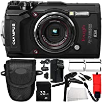 Olympus TG-5 Digital Camera (Black) 10PC Accessory Bundle – Includes 2x Replacement Batteries + AC/DC Rapid Home & Travel Charger + MORE