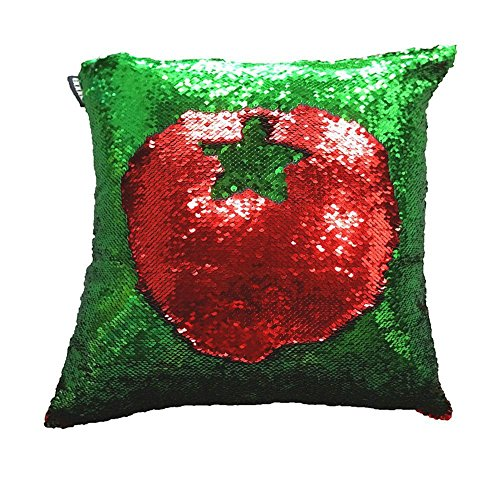 Freestyle Reversible Color Change Sequin Throw Pillow Cases Covers in Two-Tone, Fresh Green and Red, 16x16, Creative Decorations on Sofas/ Armchairs/ Beds/ Floors/ (Halloween Makeup Tumblr)